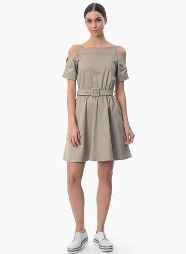 Network Askılı Omuzları Açık Kloş Elbise Vizon